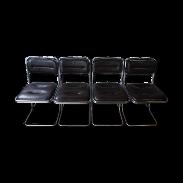 Selency Suite de 4 chaises métal chromé et cuir noir