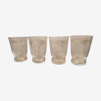 Set de 4 verres liserets or