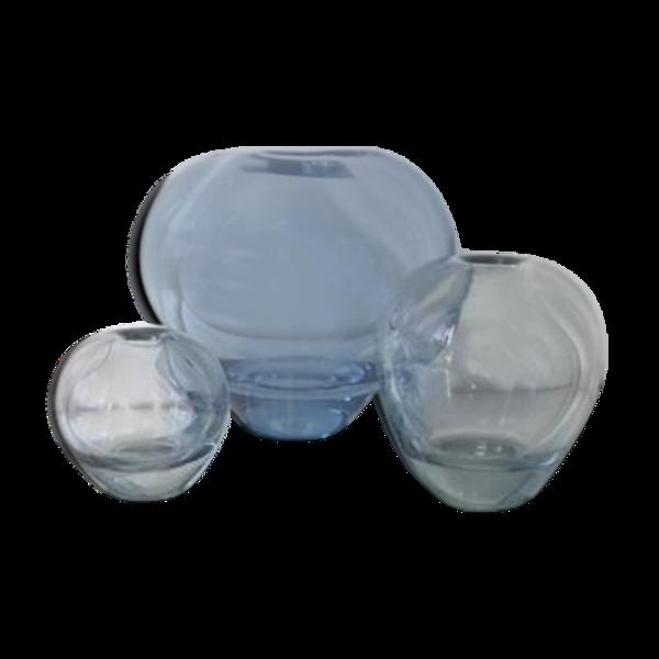 Ensemble Holmegaard de 3 vases ronds bleus conçus par Per Lutken