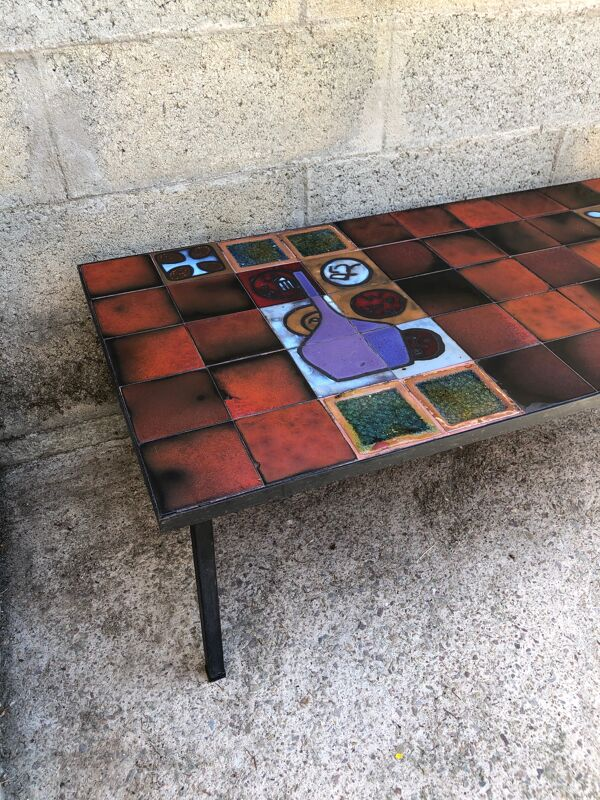 Table basse vintage en céramique et métal