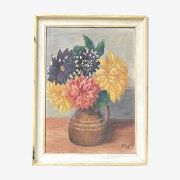Tableau ancien bouquet de dahlias