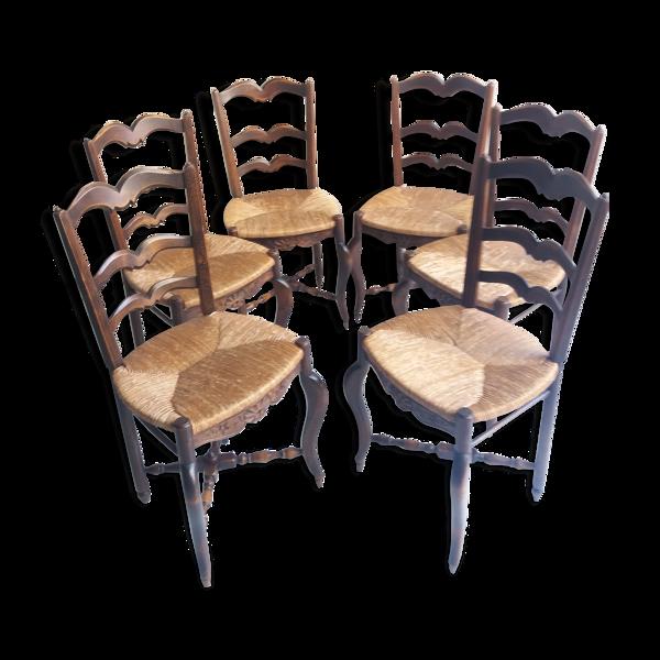 Suite de 6 chaises paillées anciennes