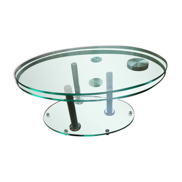 Selency Table basse ovale en verre trempé