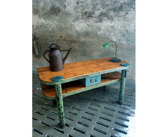 Établi meubles industriels de salle de bains acier et bois