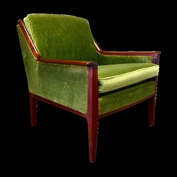 Fauteuil velours 1950 design scandinave