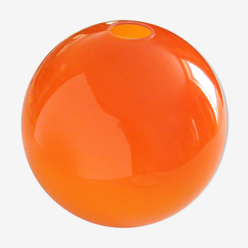 Suspension globe en verre opalin orange vintage années 70