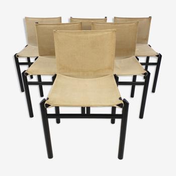 Ensemble de 6 chaises à manger par Afra &Tobia Scarpa, Italie années 1970