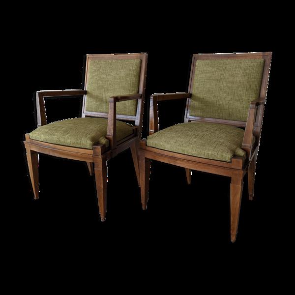 Paire fauteuils en noyer années 40