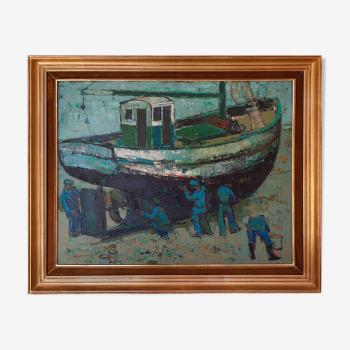 Peinture huile sur toile - Jean Monneret - Chalutiers au Radoub - Honfleur 1959