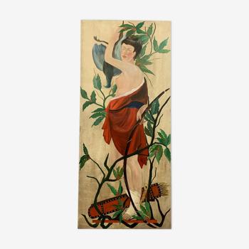 Décors de théâtre immense huile sur toile figurant un personnage asiatique