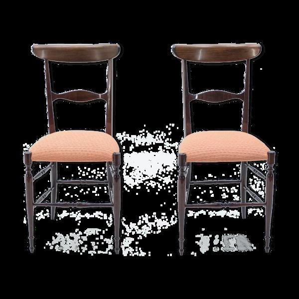 Selency Paire de chaises Campanino Chiavari en noyer par Fratelli Levaggi 1950