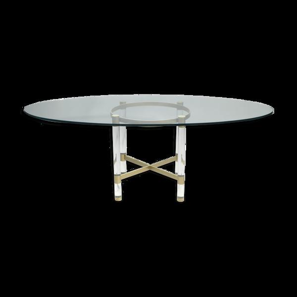 Table plexi laiton de Sandro Petti pour Metalarte 1970