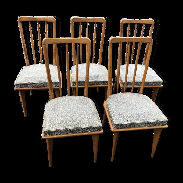Selency Suite de 5 chaises de Charles Ramos