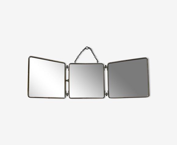 Miroir triptyque ancien 25x25cm