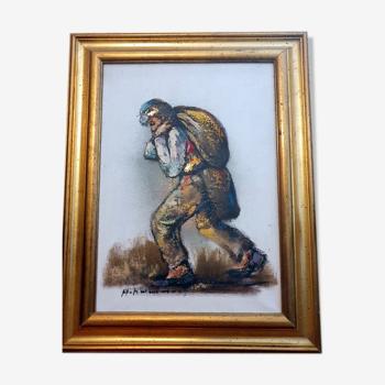 Huile sur toile - le porteur de sac d'or Haidar Hamaoui (1937-2013), peintre du Liban