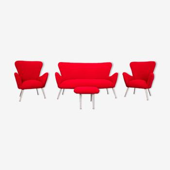 Salon canapé 2 fauteuils repose-pieds bouclé rouge années 50