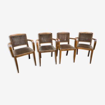 Set of 4 Art Deco Bridge armchairs