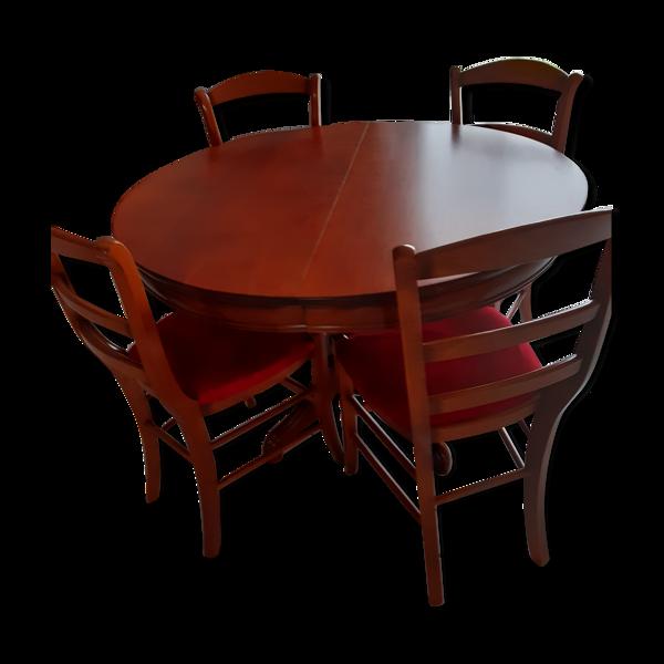 Selency Table ronde en merisier et 4 chaises