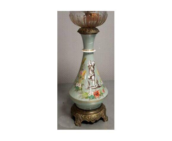 Lampe a pétrole époque napoléon iii en porcelaine céladon vers 1880