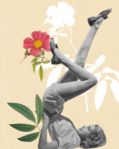 Print collage chandelle en fleur