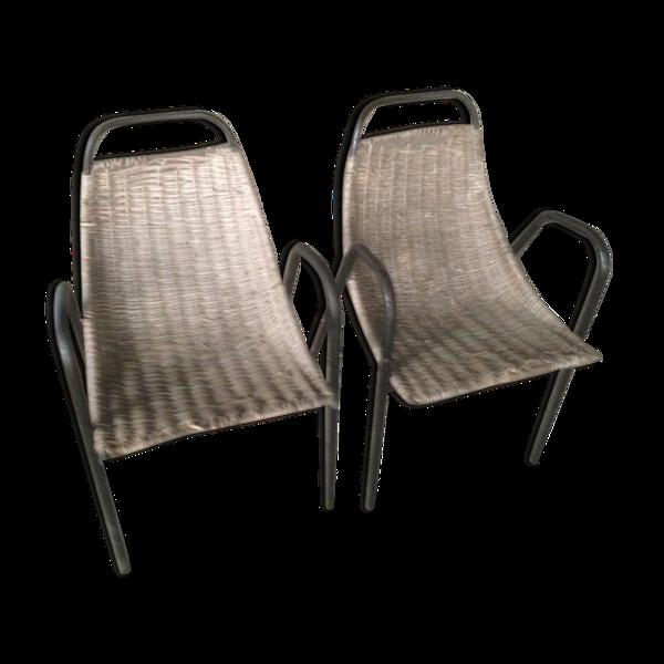 Chaise rotin années 50
