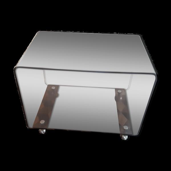 Table basse ou d'appoint design David Lange 1970 vintage plexiglas fumé roulante meuble TV HFI
