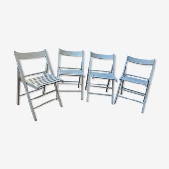 4 chaises pliantes en bois 70's