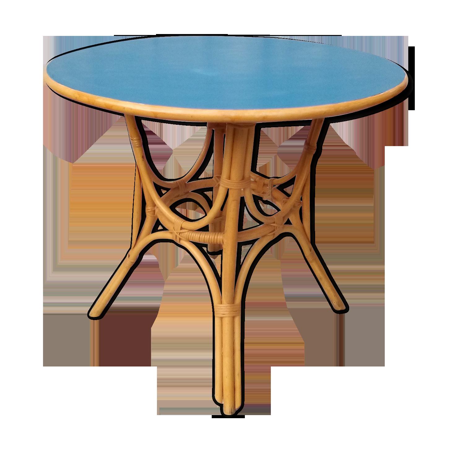 Table en rotin années 60
