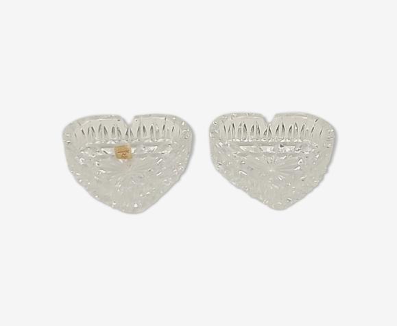 Lot de 2 cendriers en cristal transparent forme coeur