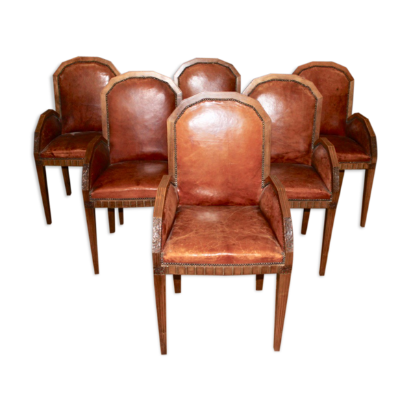 Selency Suite de six fauteuils art déco en noyer et cuir
