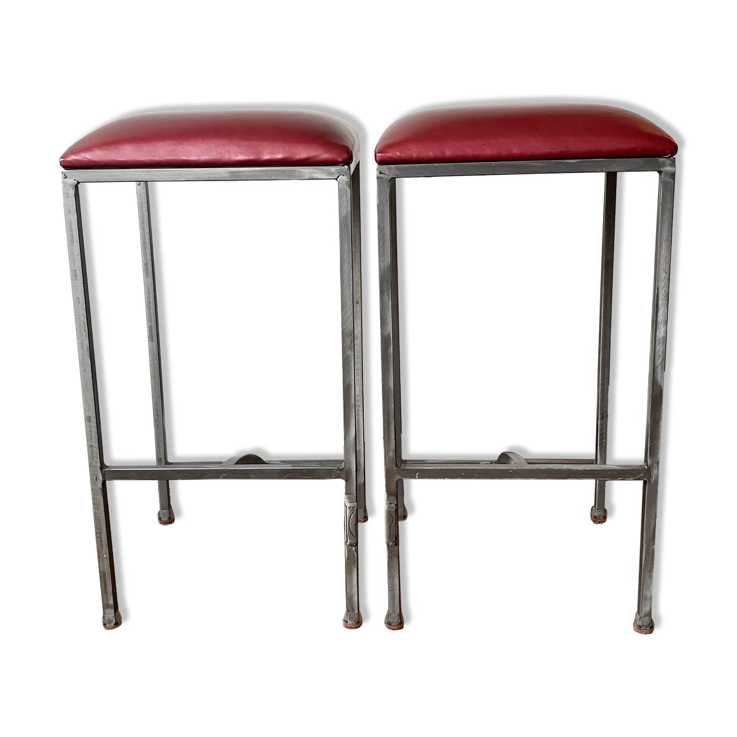 Lot de 2 tabourets de table à manger - acier brossé - designer chantal peyrat
