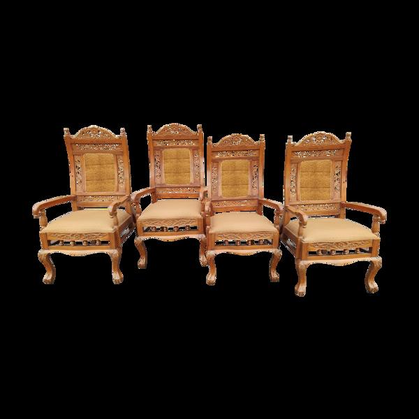 Série de 4 fauteuils en teck colonies anglaises Ceylan vers 1960