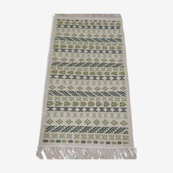 Handmade white and green carpet 79x145cm