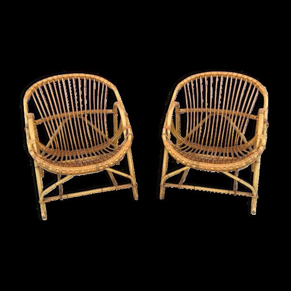 Selency Paire de fauteuils corbeille en rotin vintage