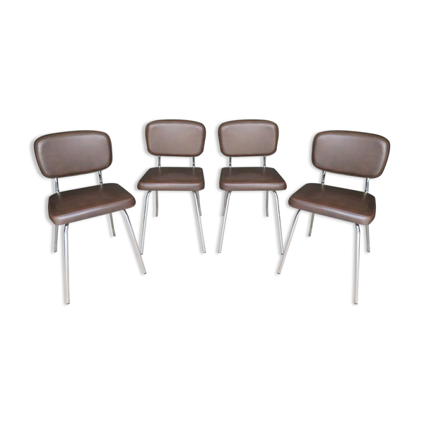 Lot de 4 chaises en skaï et chrome vintage
