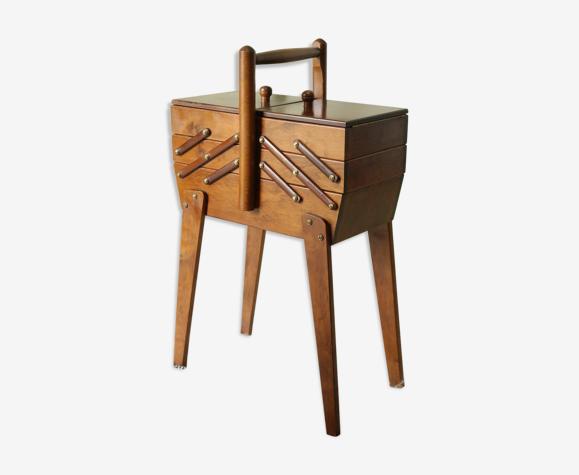 Travailleuse vintage en bois de hêtre
