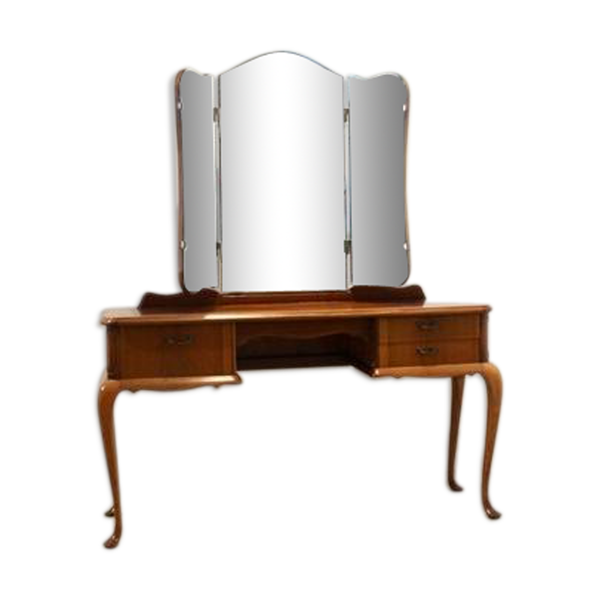 Coiffeuse hollandaise en acajou avec miroir à trois volets