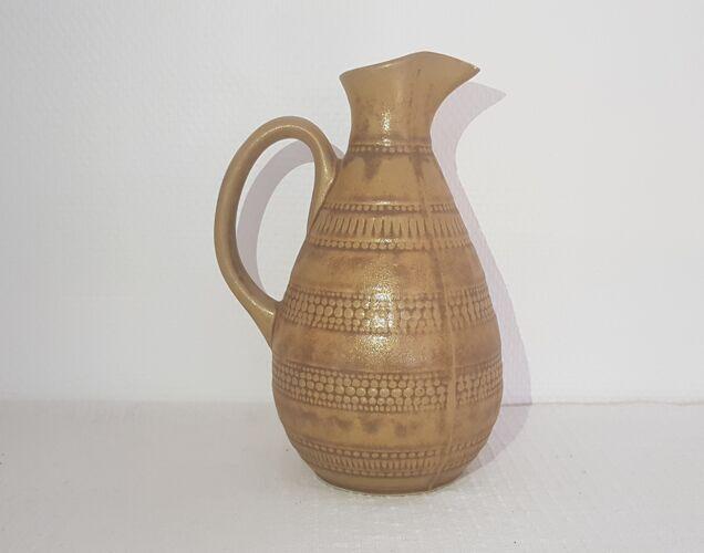 Ancien pichet à eau en grès vernissé de la faïencerie de Digoin, carafe.