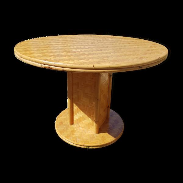 Selency Table ronde en bambou 1970