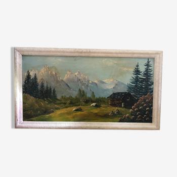 Ancien Tableau Huile Sur Panneau P. FOY Vue Montagne + Cadre Bois Blanc Vintage
