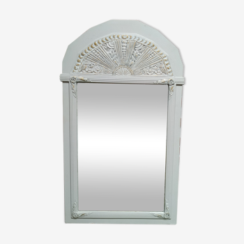 White and gold patinated sculpted mirror