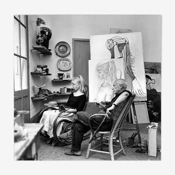 """Photographie """"Pablo Picasso et Sylvette David"""" Vallauris 1954"""