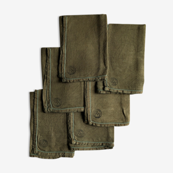 Set of six pure washed linen towels dyed persimmon
