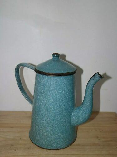 Cafetière verseuse en tôle émaillée marbrée bleue