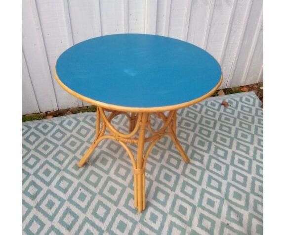 Table en rotin des années 60