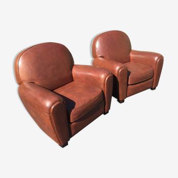 Paire de fauteuils club 1930