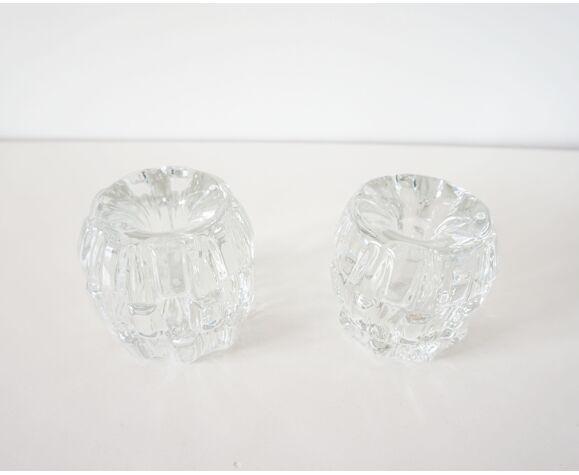 Paire de bougeoirs ancien en cristal