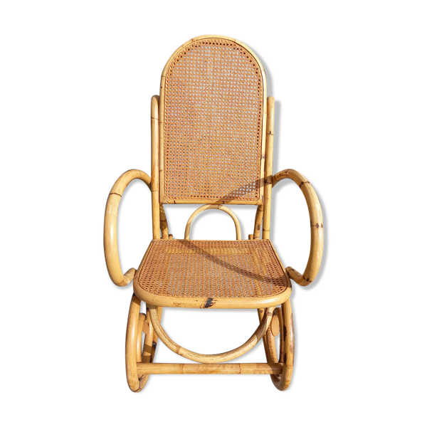 Fauteuil rocking chair bambou canné vintage