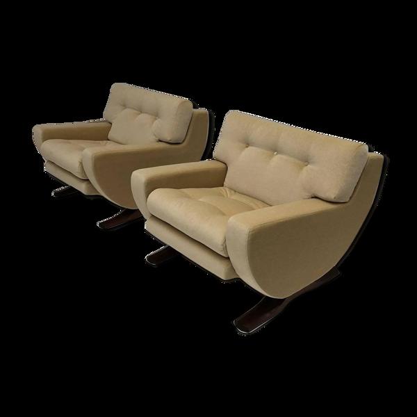 Paire de fauteuils par le sculpteur italien Franz T Sartori Flexform 1965