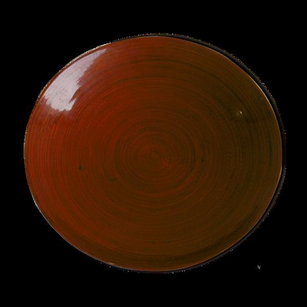 Plat de service en bambou tresse couleur laqué rouge Plat de service.Années 80.Origine v